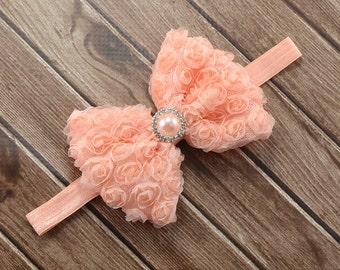 Peach Bow Headband, Peach Rosette Bow Headband, Peach Bow, Peach Headband, Peach Bow Clip, Peach Flower Girl Headband, Newborn Photo Prop