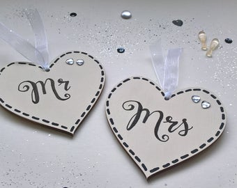 Mr Mrs wooden hand painted wedding hearts set - finished with organza and rhinestones- perfect favour, gift or place card