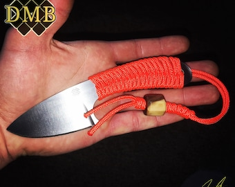 Handmade Knife DMBlades Orange Op Hunting Fishing EDC Light Outdoors Backpacking Survival Paracord