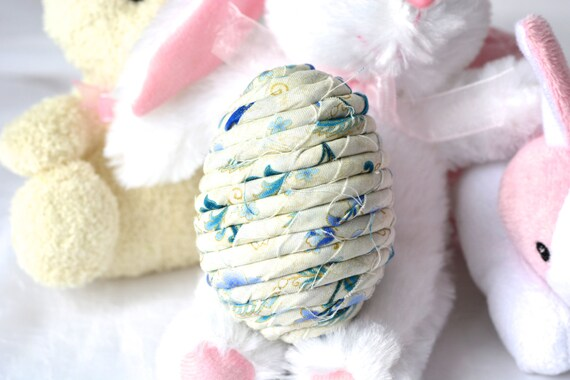 Spring Egg Ornament, Handmade Blue Easter Egg Decoration, Spring Home Decor, Hand Coiled Fiber Easter Egg, Blue China Easter Egg