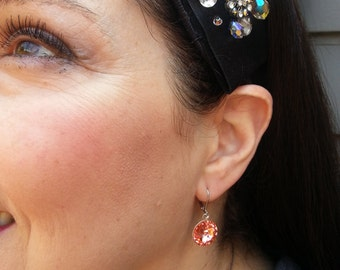 Earrings, Bridal, Special occasions, Peach, Swarovski. For special occasions.