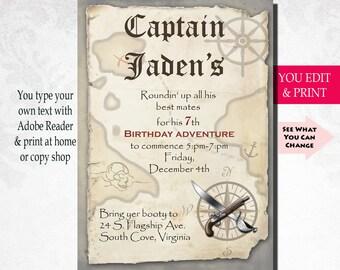 Pirate Birthday Invitation, Pirate Party Invitation, Boy Birthday Invitation, Instant Download, Editable PDF, Pirate Birthday, Pirate Party