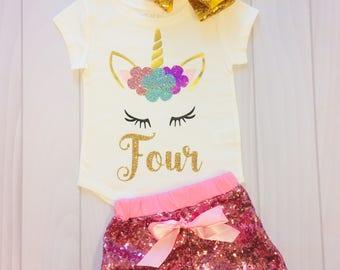 Unicorn Sleepy Eyes | Four | Girls Custom Shirt | Fourth Birthday
