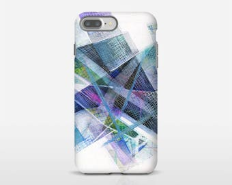 Abstract Phone Case, Samsung S9, iPhone 8, iPhone 7 Plus, iPhone Tough Cases, Galaxy Case, Google Pixel Cases, Blue Abstract Case. MS034