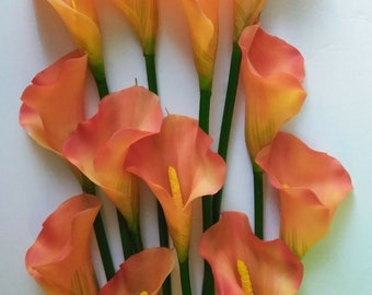 "SALE 21"" Orange Calla lilies. One dozen"