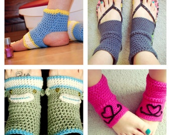 PATTERN CROCHET Yoga/Flip Flop Socks with embellishment options