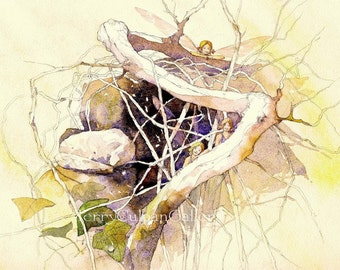 Fairy Woodland Home Sprites Faerie Dell Three Faery Friends Gossamer Wings Fantasy Woody Branches Illustration Wall Art Watercolour Print