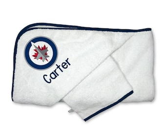 Personalized Winnipeg Jets Baby Hooded Towel Set
