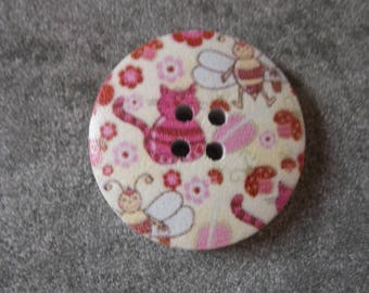 button decor, natural wood animal 30mm