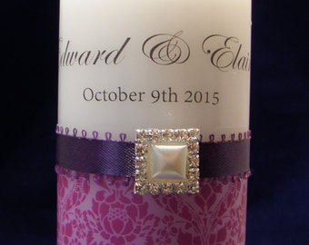 Personalised Unity Candle Set, Wedding Candles, Choice Colour, Metallic Foiled Text, Ribbon. Gems