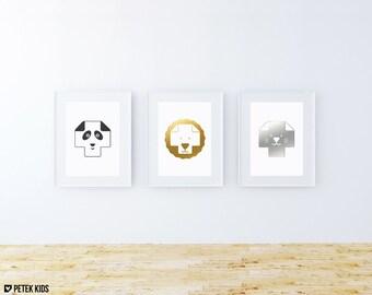 Set of 3 Minimalist Nursery Posters / Silver, Gold Foil Kids Poster / Kids Wall Art / Swiss Cross Poster / Nordic Prints / Gallery Wall