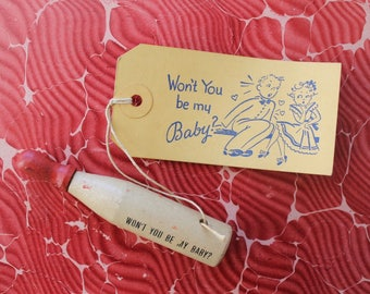 Won't you be my baby, Novelty Valentine tag, Novelty Valentine card, Vintage humor, 1930's Valentines, Valentine's Day gift, Sweetheart gift