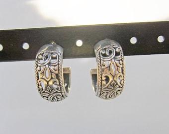 Sterling Silver Filigree Half Hoop Earrings - 2418