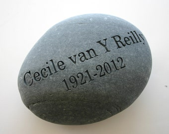 Custom Engraved Memorial Stone Grave Stone Marker River Rock Personalized