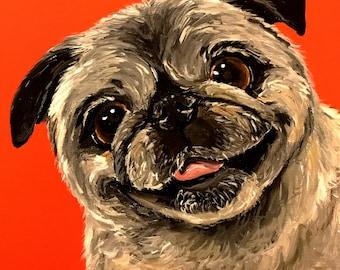 Black Pug dog art print from original Pug painting,  Pug art print on colorful background, canvas pug art, pug art prints