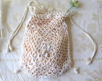 Irish Crochet Drawstring Purse Lined in Peach Rayon Cotton Lace