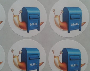 35 round snail mail stickers