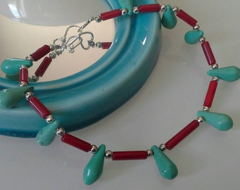 Turquoise teardrops and coral tubes anklet