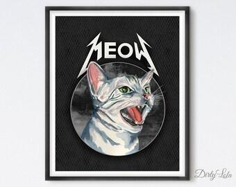 Metal Cat - Screaming Cat - Cat Portrait - Illustration - Art Print - Cat Art - Meow Art