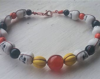Yellow Pumpkin Skull Bracelet