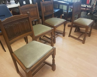 Old Charm Vintage Dining Chairs Very Good Condition Fabric Seat Oak X 4