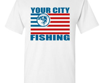 4th of July Fishing Flag T-shirt White, Gray, and Black