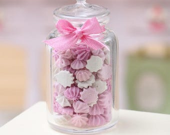 MTO - Glass Jar of Pink and White Drop Meringues - Miniature Dollhouse Food 1:12 Scale