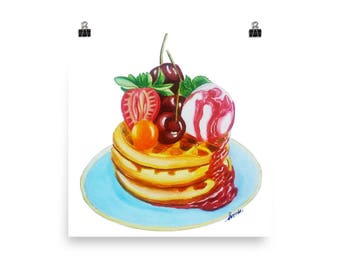 Fruity dessert art print for kitchen or diner/ watercolor food art/housewarming wall decor