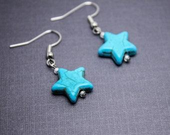 BLUE STAR EARRINGS - Surgical Steel Earrings - Stone Star Earrings- Gift for Her - Turquoise Star Earrings