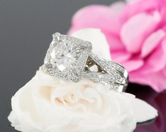 8.5mm Round Forever One Moissanite and Diamond Halo Engagement Ring in 14k White Gold (avail. in rose gold, yellow gold and platinum)