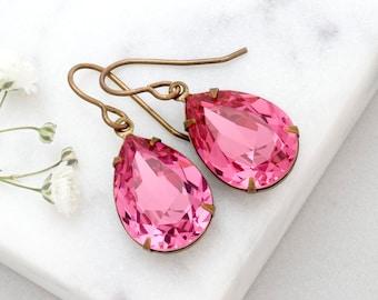 Rose Pink Earrings, Pink Swarovski Crystal Earrings, Pink Rhinestone Earrings, Pink Drop Earrings Dangle, Pink Crystal Jewelry, Alondra