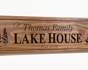 Lake House Sign, custom made Cottage sign, Beach House sign, Man Cave sign, Cabin decor, Carved in solid pine