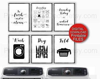 Printable Laundry Art, Wash, Dry, Fold, Laundry Symbols, Print Set, 5x7 8x10 11x14 A4