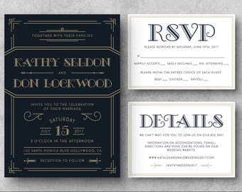 PRINTABLE Art Deco Wedding Invitation, Great Gatsby Wedding Invitations, Wedding Invitations, Great Gatsby, Vintage Wedding Invitation