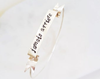 Custom Ribbon Quote Bangle - Personalized Quote Banner Bracelet