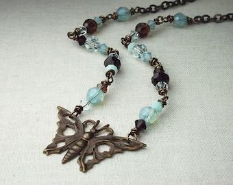 Vintaj, vintaj jewelry, vintaj necklace, vintage, vintage jewelry, vintage necklace, butterfly necklace, swarovski crystal, one of a kind