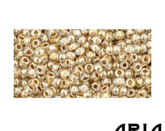 CRYSTAL GOLD LINED (989): 11/o Toho Japanese Seed Beads (10 grams)