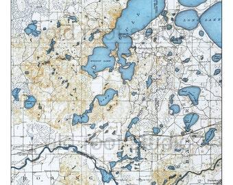 Hand Painted Map of Gull Lake, Minnesota, 1919 / Vintage Gull Lake Map / Antique Gull Lake Map / Old Map Gull Lake / Minnesota Lakes