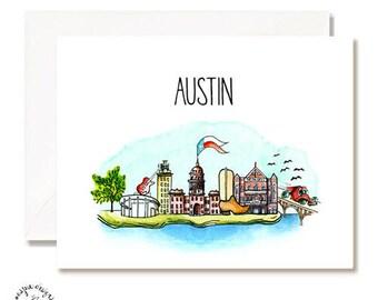 Austin Illustration Card - Handmade - Set of 10 - A2 Blank