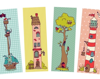 Bookmark set, 4 bookmarks children, bookmarks child, kids bookmarks, school start