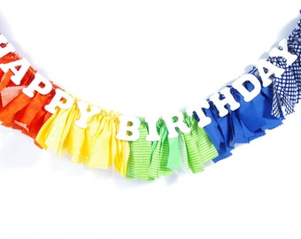 Rainbow Birthday Party Banner - ROYGBIV - Highchair Banner - Birthday Decor - Party - Rag Banner - Photography Prop