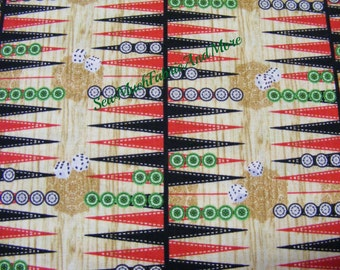 Backgammon mini board fabric~by the 1/2 yd or yard~Timeless Treasures~Games~1948