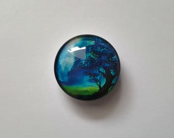 Blue Tree Glass Needle Minder