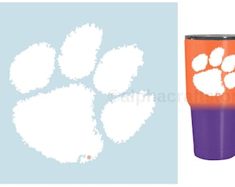 """Clemson Tigers Tiger Paw Premium Vinyl Decal for Phone, YETI, RTIC, Ozark Insulated Rambler Tumbler Cups 3""""W"""