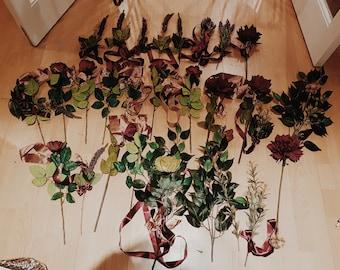 Wedding Flowers Floral Arrangement/Decoration in Burgundy, Rose Gold and Blush - Complete Set