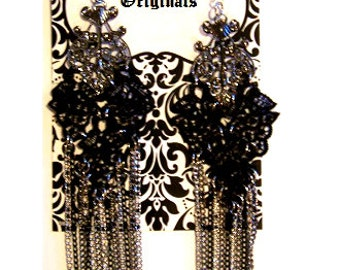 Avant Garde Lace Fringe Earrings