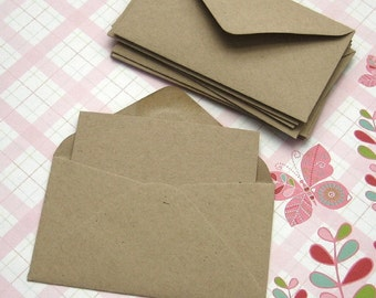 20 Mini Kraft Envelopes with Note Cards 2 1/2 x 4 1/4 inches