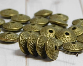 20pcs - 12mm - Large Spacer Beads - Bronze Spacer Beads - Rondelle Spacers - Tibetan Beads - Metal Spacers - Disc Spacer - (2164)
