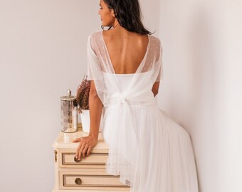 Open back bridal gown, tulle sleeves wedding gown, tulle wedding dress, wedding gown with short sleeve, tulle wedding gown, white tulle gown