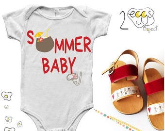 Summer baby outfit – Slip on sandals for baby girl and girl bodysuit with quote and beach graphic make cute baby shower gift for infant girl